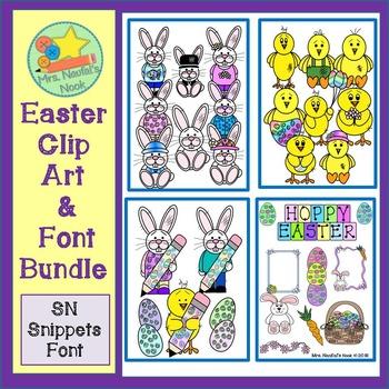 Easter Clip Art & Font Bundle