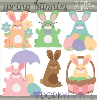 Easter Clip Art - Spring Bunnies