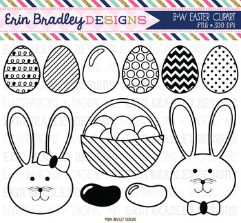Easter Clipart - Black & White Eggs Jelly Beans and Bunnies