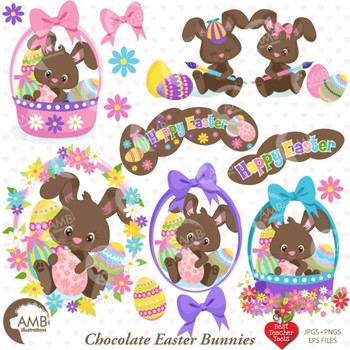 Easter Clipart, Easter Egg clipart, Chocolate Easter Bunny