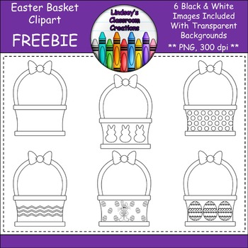 Easter Basket Clipart  - 6 Black and White Easter Baskets