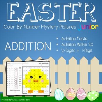 Easter Color-By-Number: Addition (K-2)