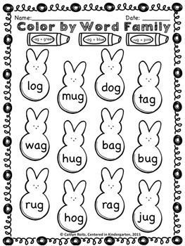 Easter Color By Word Family Freebie!