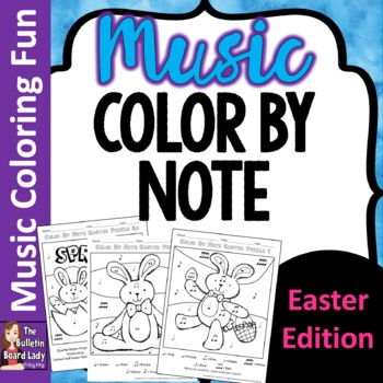 Easter Color by Music Symbol-set of 8 color sheets for Mus