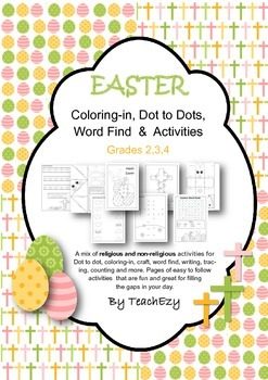 Easter Coloring in, dot to dot, word finds and Activities
