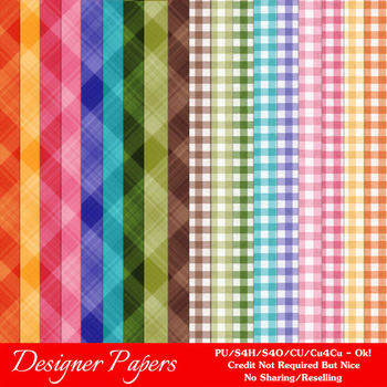 Easter Colors 2011 Digital Papers Backgrounds 2 Ginghams & Plaids