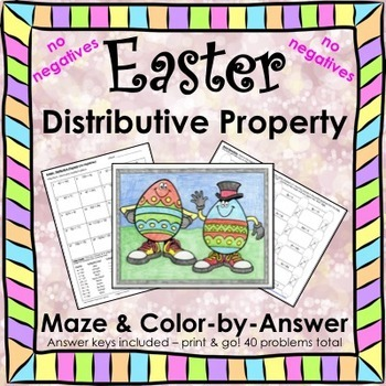 Easter Spring Distributive Property No Negatives Maze & Co