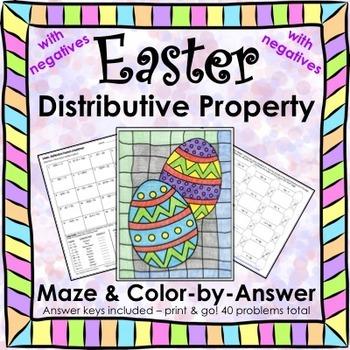 Easter Spring Distributive Property (Negatives) Maze & Col