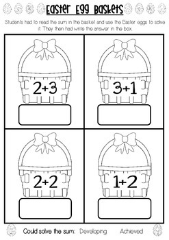 Easter Egg Addition Baskets Assessment - 3 versions