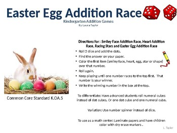 Easter Egg Addition Dice Race