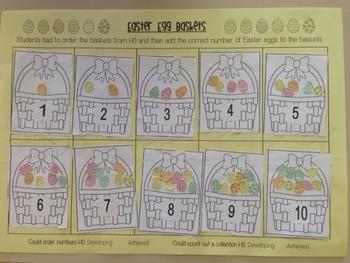 Easter Egg Basket Maths Assessment 1-10 and 11-20 versions