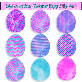 Easter Egg Clip Art - Pink and Blue Watercolors {Commercia