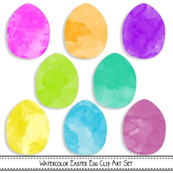 Easter Egg Clip Art - Pink and White Watercolors {Commerci