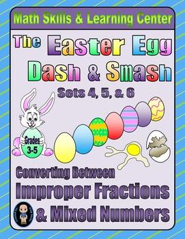 Easter Egg Dash & Smash Game Cards (Improper Fractions & M