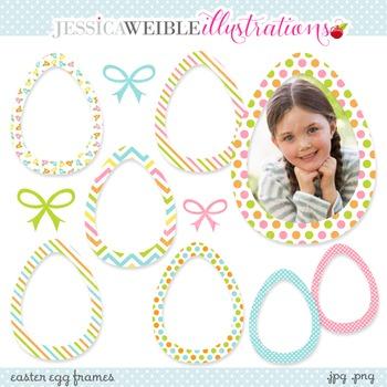 Easter Egg Frames Cute Digital Clipart, Easter Egg Clip Ar