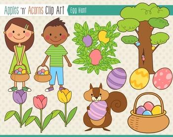Easter Egg Hunt Clip Art - color and outlines