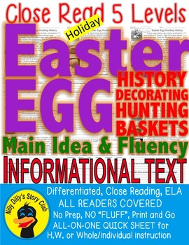 Easter Bunny Eggs Baskets Close Read 5 Level Passages Diff