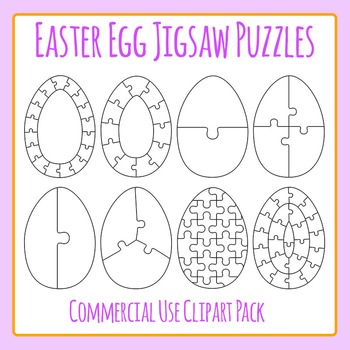 Easter Egg Jigsaw Puzzles Commercial Use Clip Art Set
