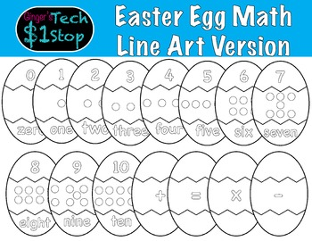 Easter Egg Math * Line Art * Puzzle Pieces * Spring * Colo