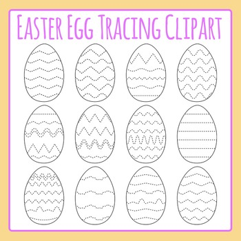 Easter Egg Tracing Clip Art Set Commercial Use - Fine moto