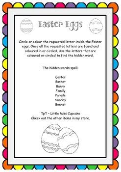 Easter Egg letter and word hunt