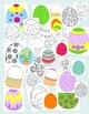 Easter Eggs Clip Art Bundle Basket PNG JPG Blackline Comme