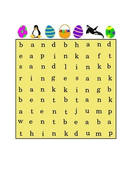 Easter Ending Consonant Blends Search Word Puzzle AND ANK