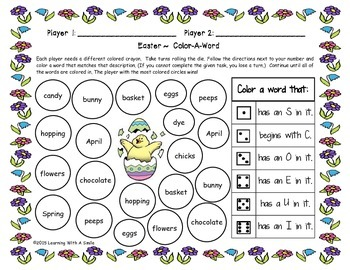 Easter FREEBIE ~ Color-A-Word Partner Game ~ Print & Play!