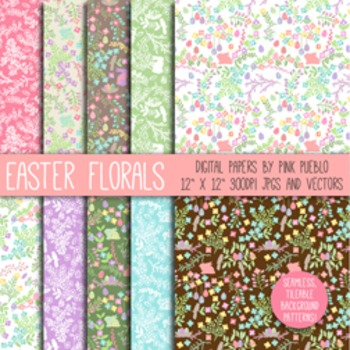Easter Flower Digital Scrapbook Papers and Patterns - Comm