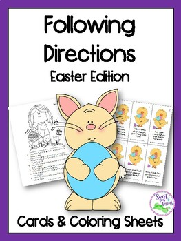 Easter Following Directions Cards & Coloring Sheets