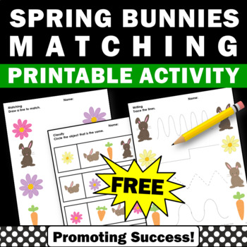 free spring matching worksheets for kids kindergarten Easter