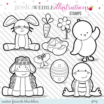Easter Friends Cute Digital B&W Stamps, Easter Bunny Line