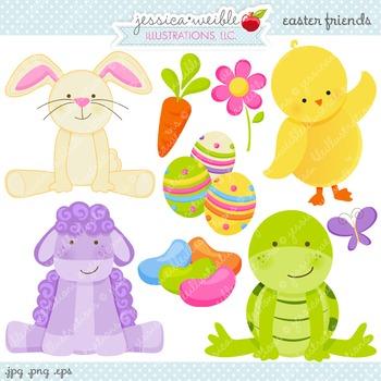 Easter Friends Cute Digital Clipart, Easter Bunny Clip Art