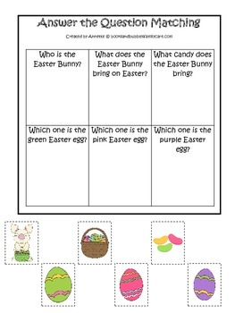 Easter Holiday themed Answer the Question printable game.