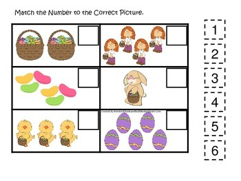Easter Holiday themed Match the Number preschool education