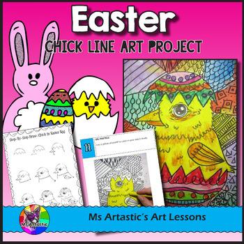 Easter Art Lesson, Chick in an Egg Line Art