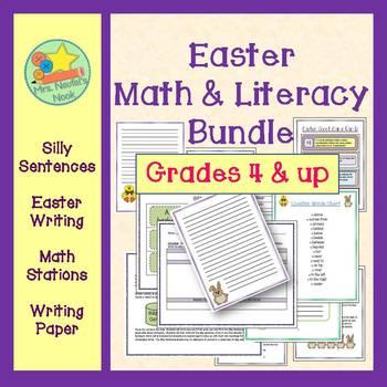 Easter Math and Literacy Bundle - Math Stations, Writing,