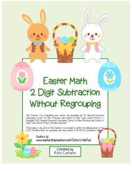 """""""Easter Math"""" 2 Digit Subtraction No Regrouping (color & b"""