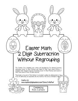 """""""Easter Math"""" 2 Digit Subtraction Without Regrouping (black line)"""