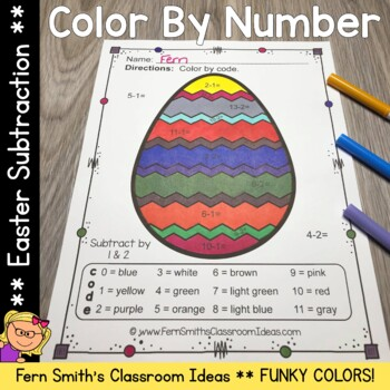 Color By Numbers Easter Subtraction