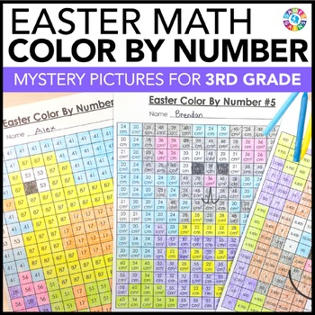 3rd Grade Easter Activities: 3rd Grade Easter Math (Color-