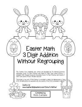 """""""Easter Math"""" 3 Digit Addition Without Regrouping (black line)"""