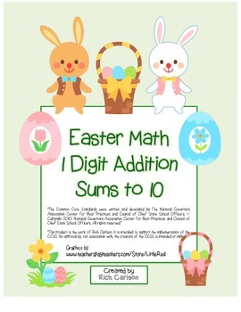 """""""Easter Math"""" Add Within 10 - Common Core - Addition Fun!"""