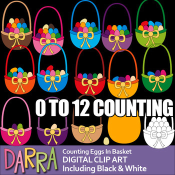 Easter Math Clip Art - Counting Eggs in Basket