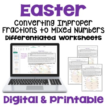 Easter Math: Improper Fractions to Mixed Numbers Worksheet
