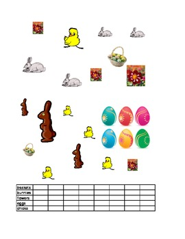 Easter Math Graph Count and Color ESL hands on COMMON CORE