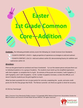 Easter Math Puzzle - First Grade Common Core - Addition Fa