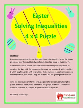 Easter Math Puzzle - Solving Inequalities