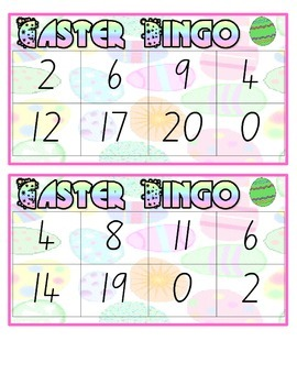 Easter Mathematics Bingo Numbers 1-20 Boards