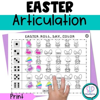 Easter NO PREP Articulation Roll Say Color Sound Practice